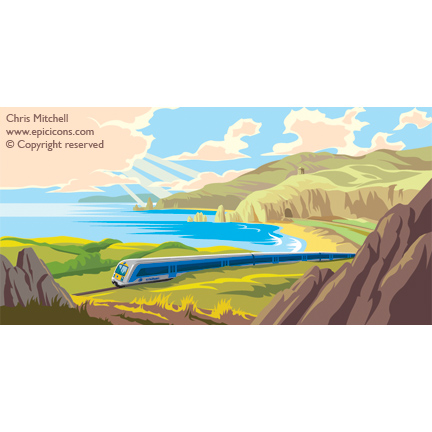 Irish train travel poster